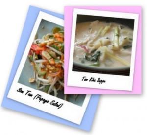 Som Tam (Papaya Salat) und eine Tom Kha Suppe.